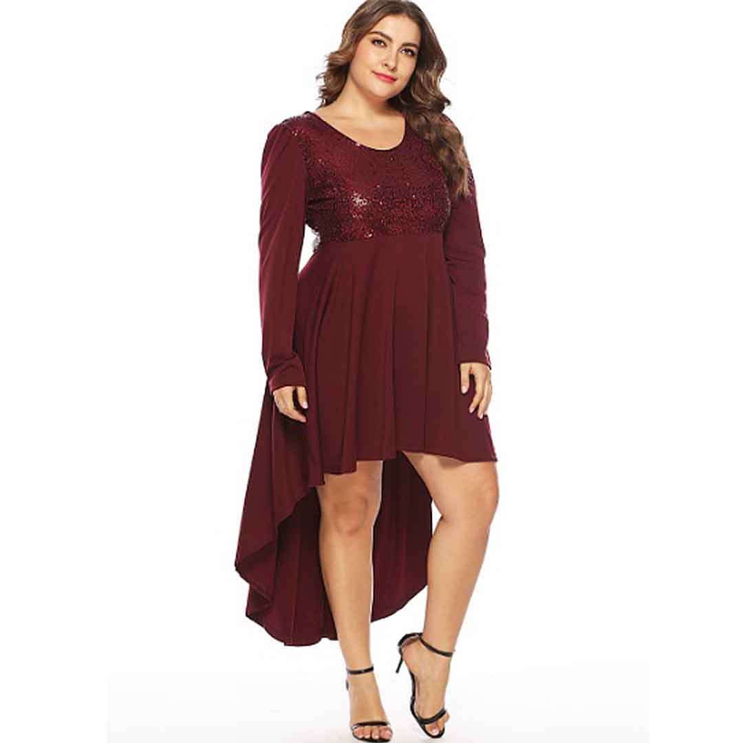 Affordable Wedding Guest Dresses: Maroon Stunning Plus Size High Low Wedding Guest Dress
