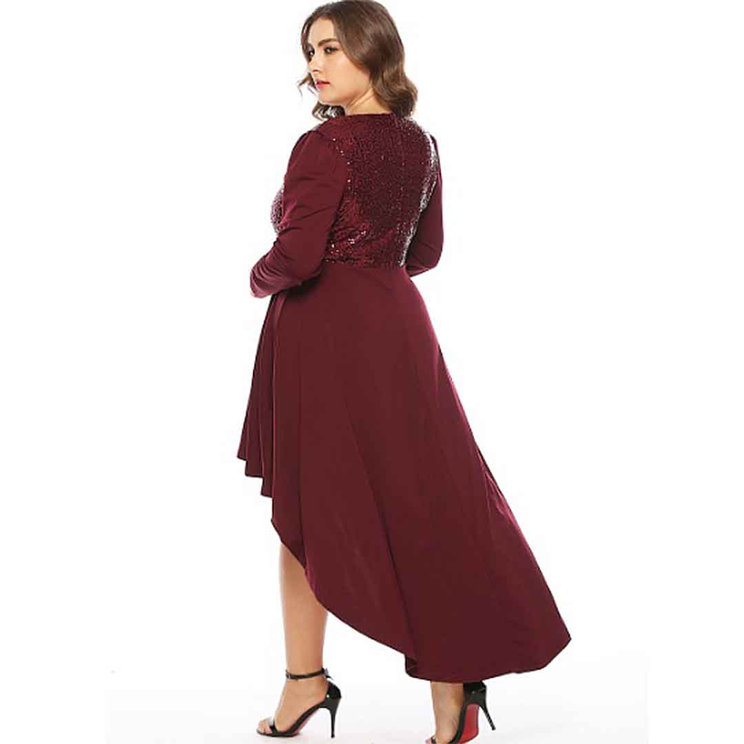 Maroon Stunning Plus Size High Low Wedding Guest Dress