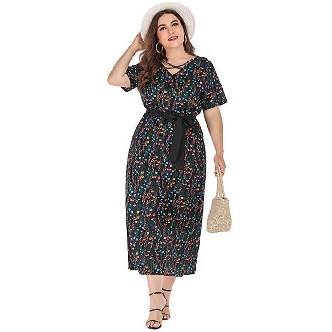 Summer Casual Belted Tiny Floral Plus Size Long Maxi Dress with Sleeves