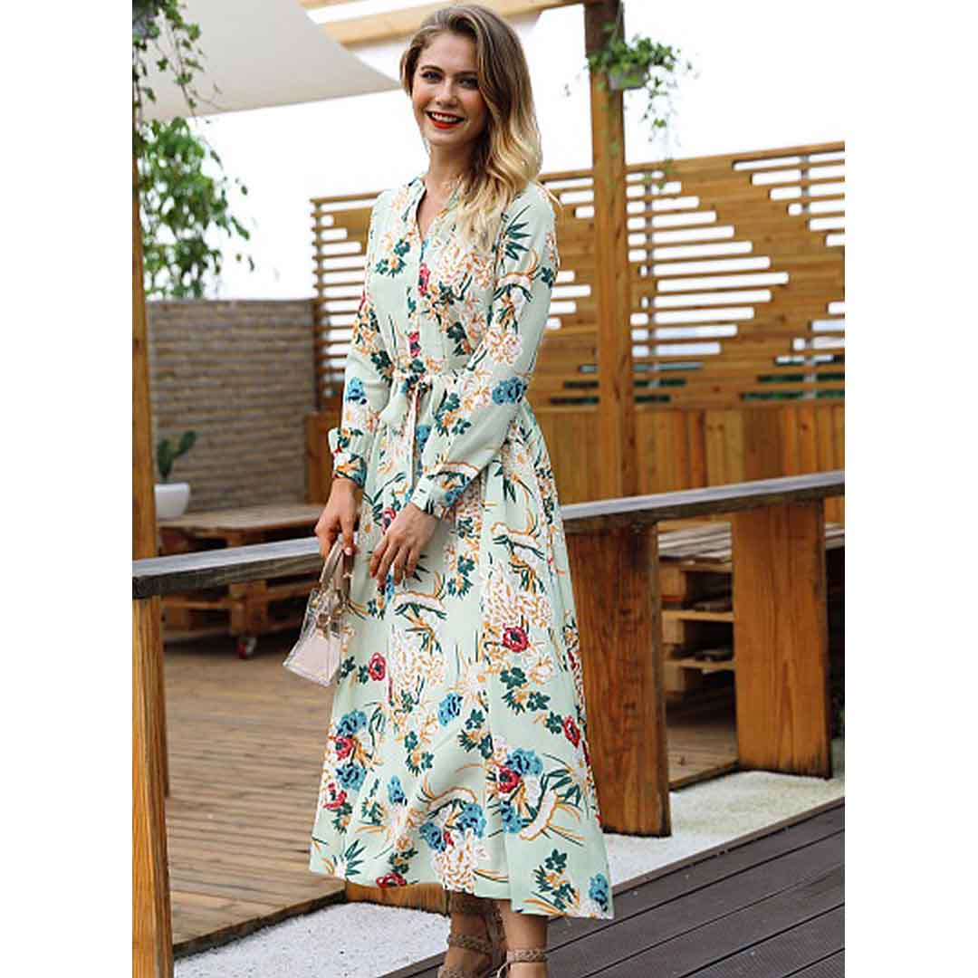 7b88855918 Summer Sweet Floral Print Long Sleeve Belted A Line Maxi Dress – Green