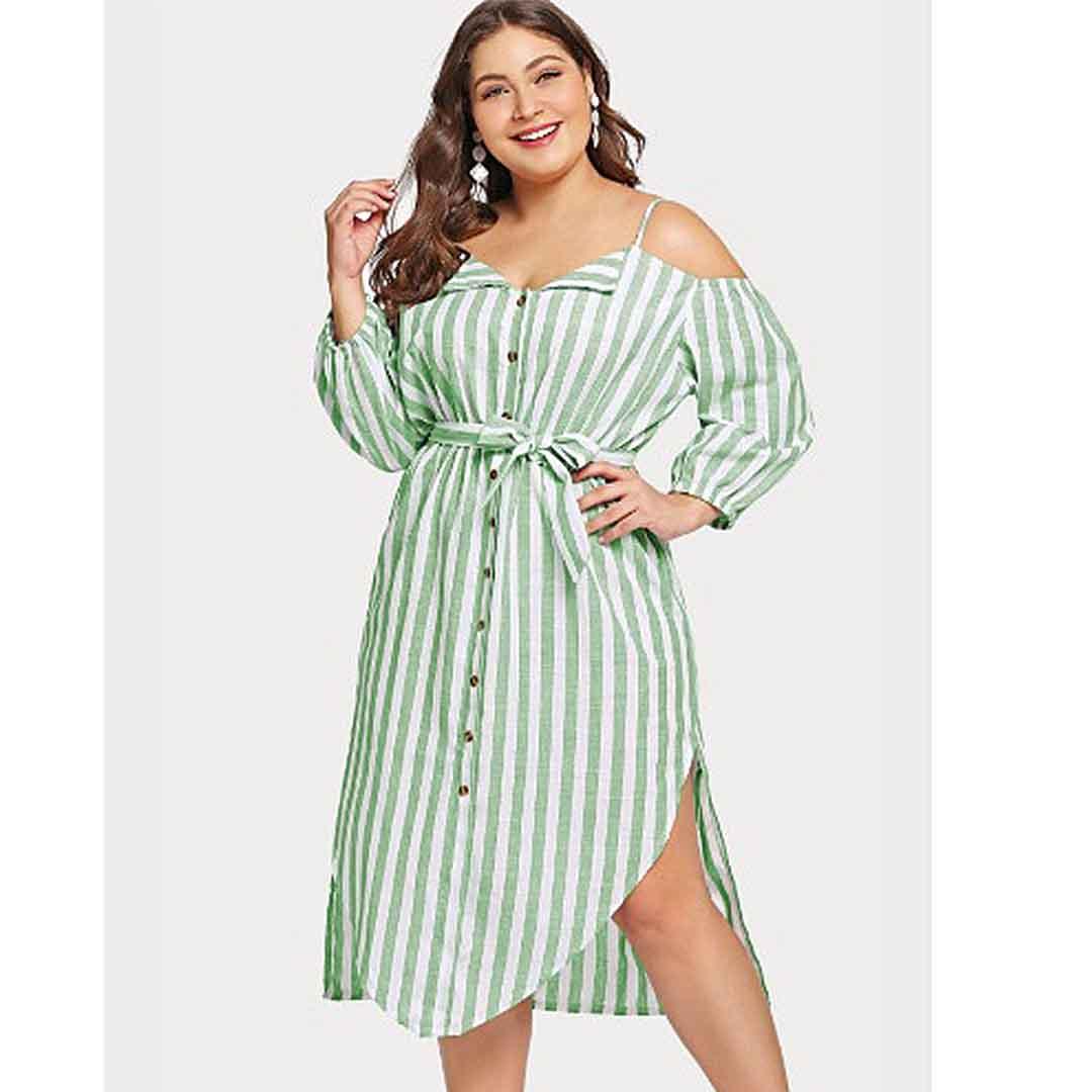 Vintage Casual Cold Shoulder Striped Midi A Line Plus Size Dresses