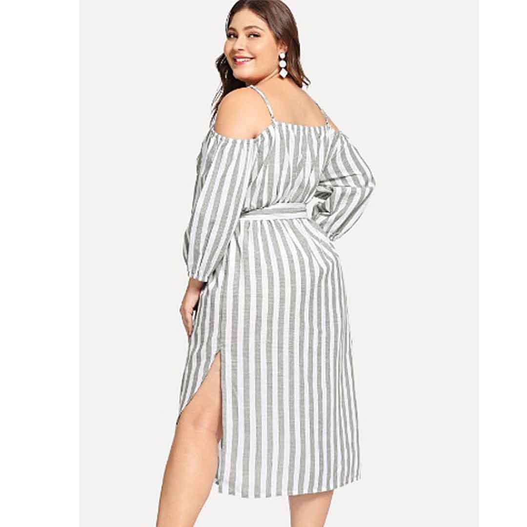 Vintage Casual Cold Shoulder Striped Midi A Line Plus Size Dresses ...
