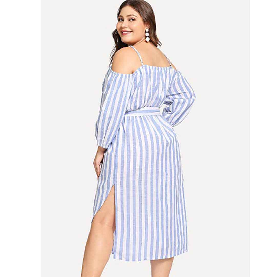 Vintage Casual Cold Shoulder Striped Midi A Line Plus Size Dresses