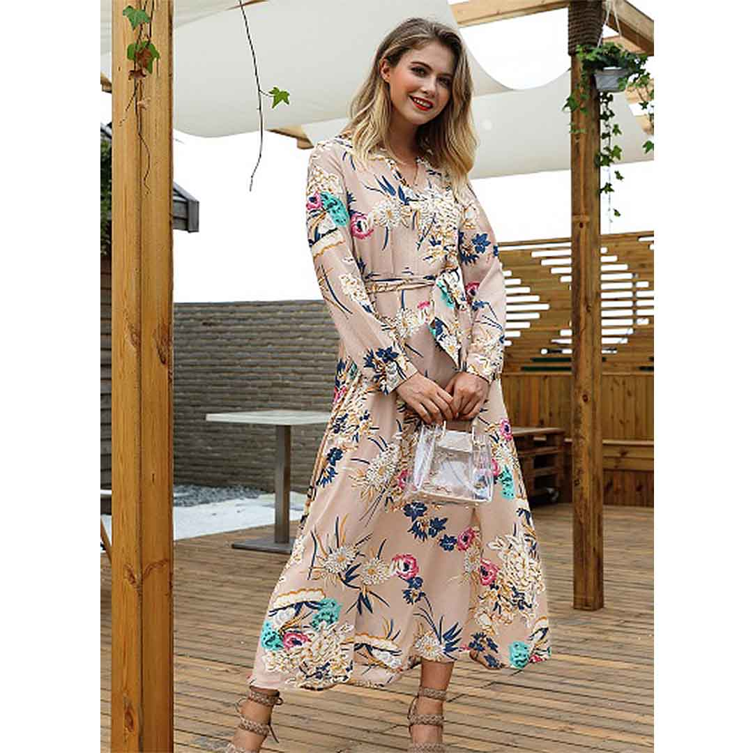 Women Floral Stunning Beach Wedding Guest Long Maxi Dress with Sleeves
