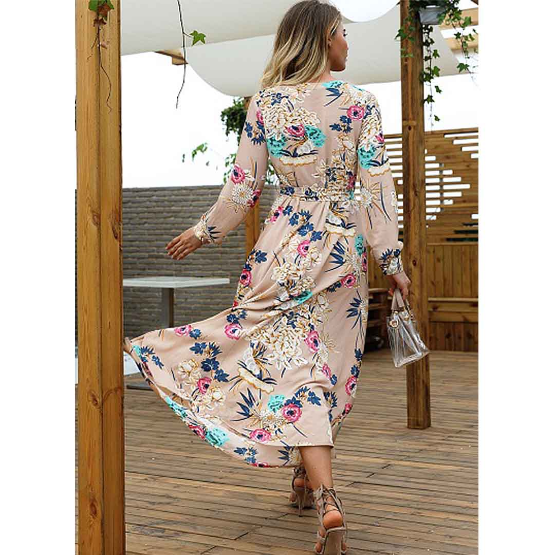 Stunning Wedding Guest Dresses: Women Floral Stunning Beach Wedding Guest Long Maxi Dress