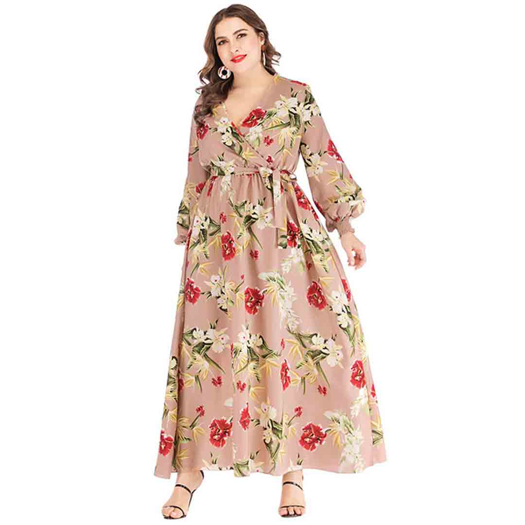 A Line Belted Floral Wedding Guest Plus Size Wrap Long Maxi Dress