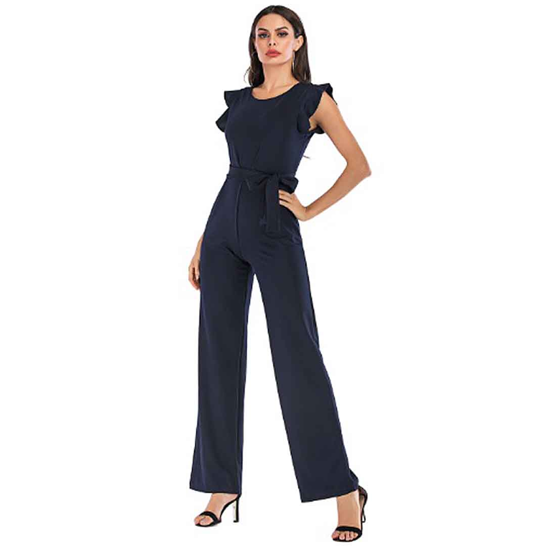 Belted Ruffle Cap Sleeve Elegant Classy Jumpsuit For