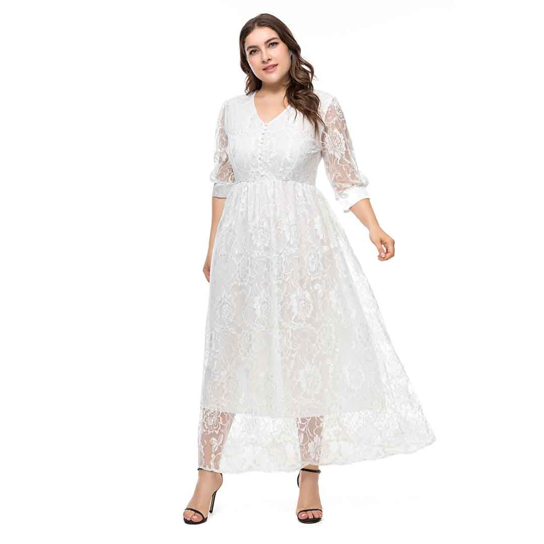 Semi Formal Long Maxi Floral Lace Wedding Guest Dresses ...