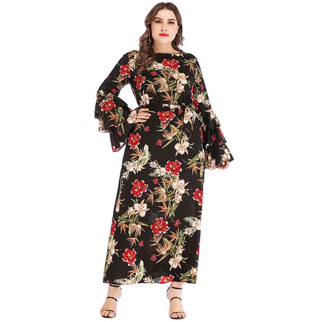 Stunning Floral Bell Sleeve Semi Formal Plus Size Wedding Guest Dress