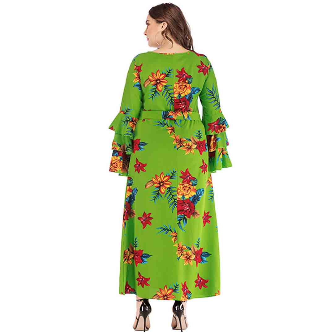 Stunning Wedding Guest Dresses: Stunning Floral Bell Sleeve Semi Formal Plus Size Wedding