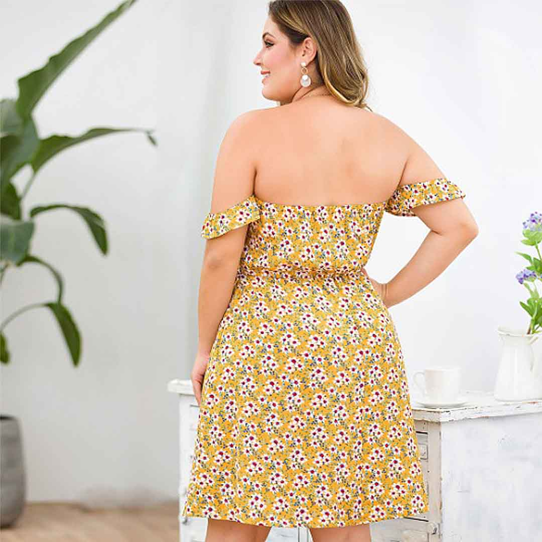 Trendy Summer Casual Drop Sleeve Plus Size Off the Shoulder Dress - Yellow
