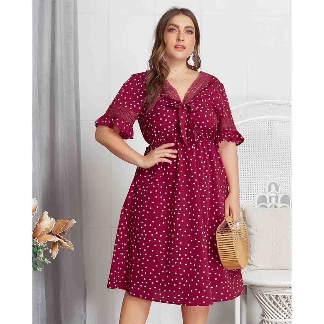 Women Polka Dot Knot Front Lace Up Plus Size Vintage Country Dresses
