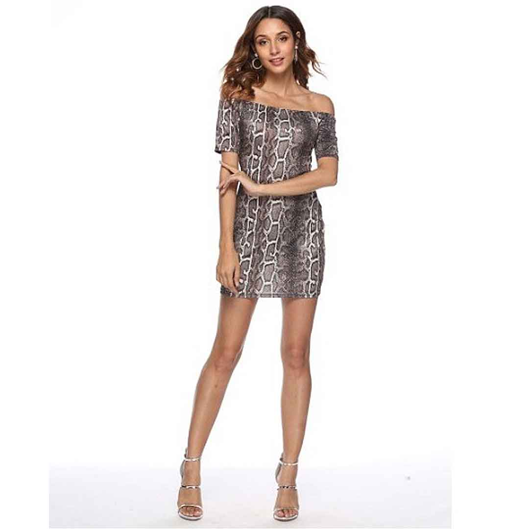 Women Snake Print Off The Shoulder Sexy Bustier Bodycon