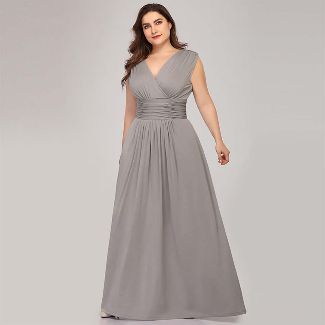 A Line Bridesmaid Sleeveless Plunging Neckline Maxi Evening Dress
