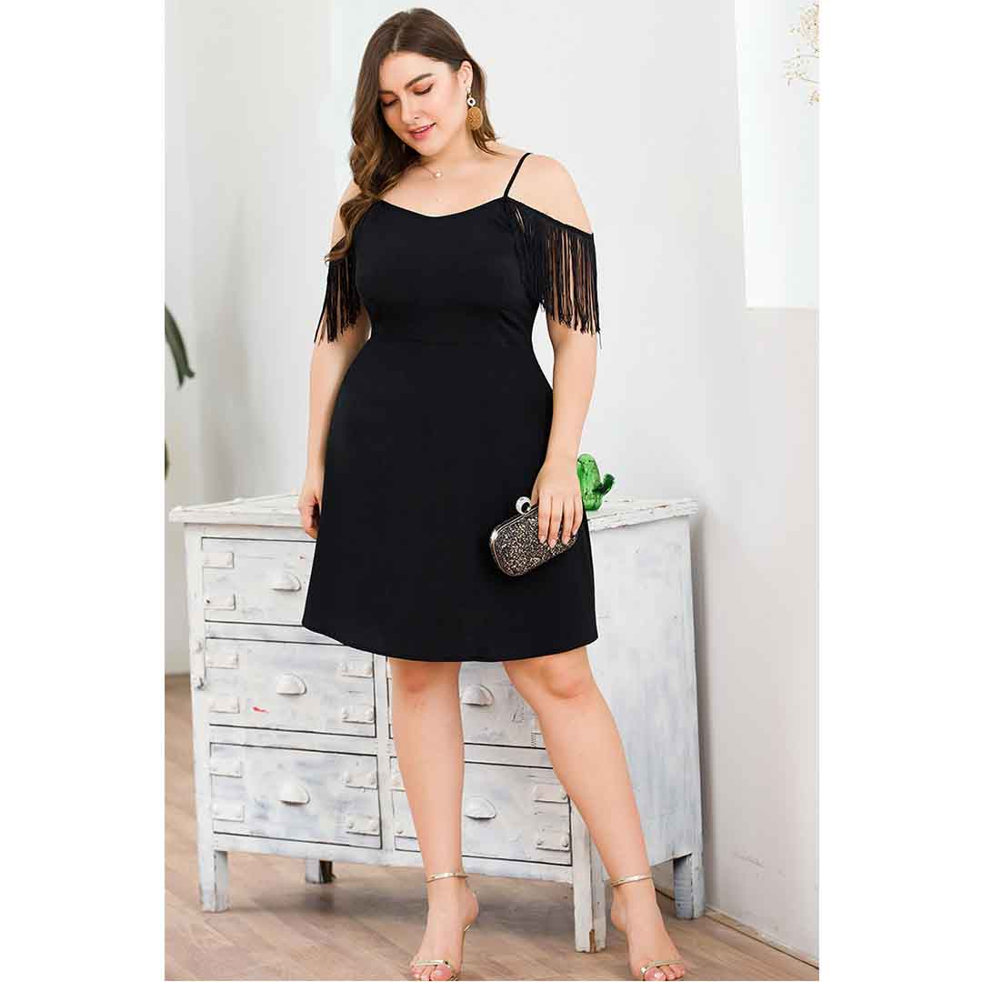 Black Solid A Line Wedding Guest Semi Formal Dress with Tassel Sleeves
