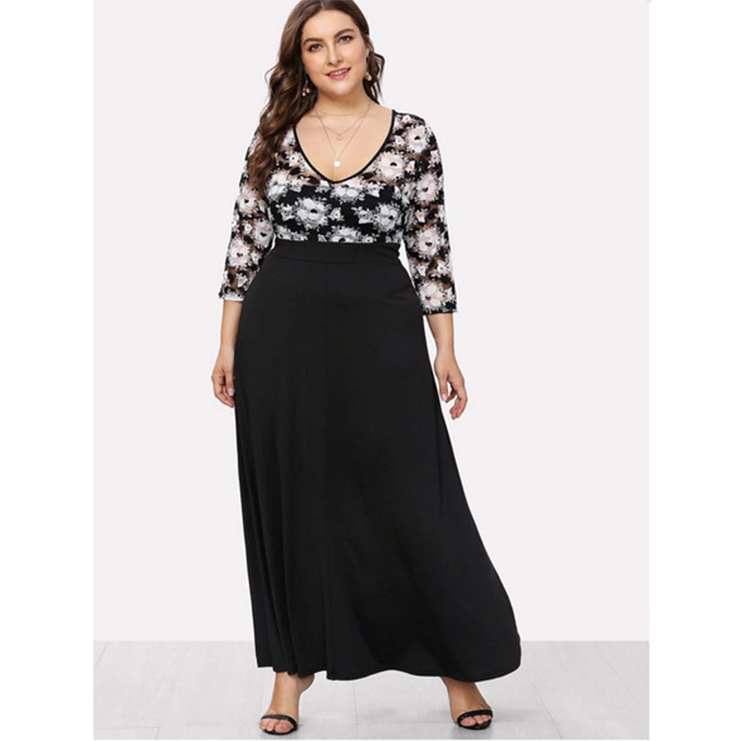 Black V Neck Lace Insert Long Maxi Plus Size Wedding Guest Dresses