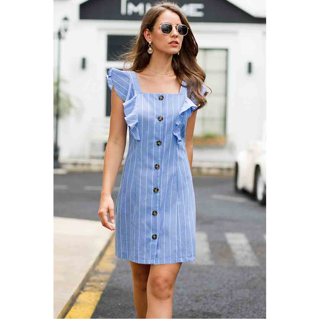 Casual Women Blue Striped Cap Sleeve Dress With Front