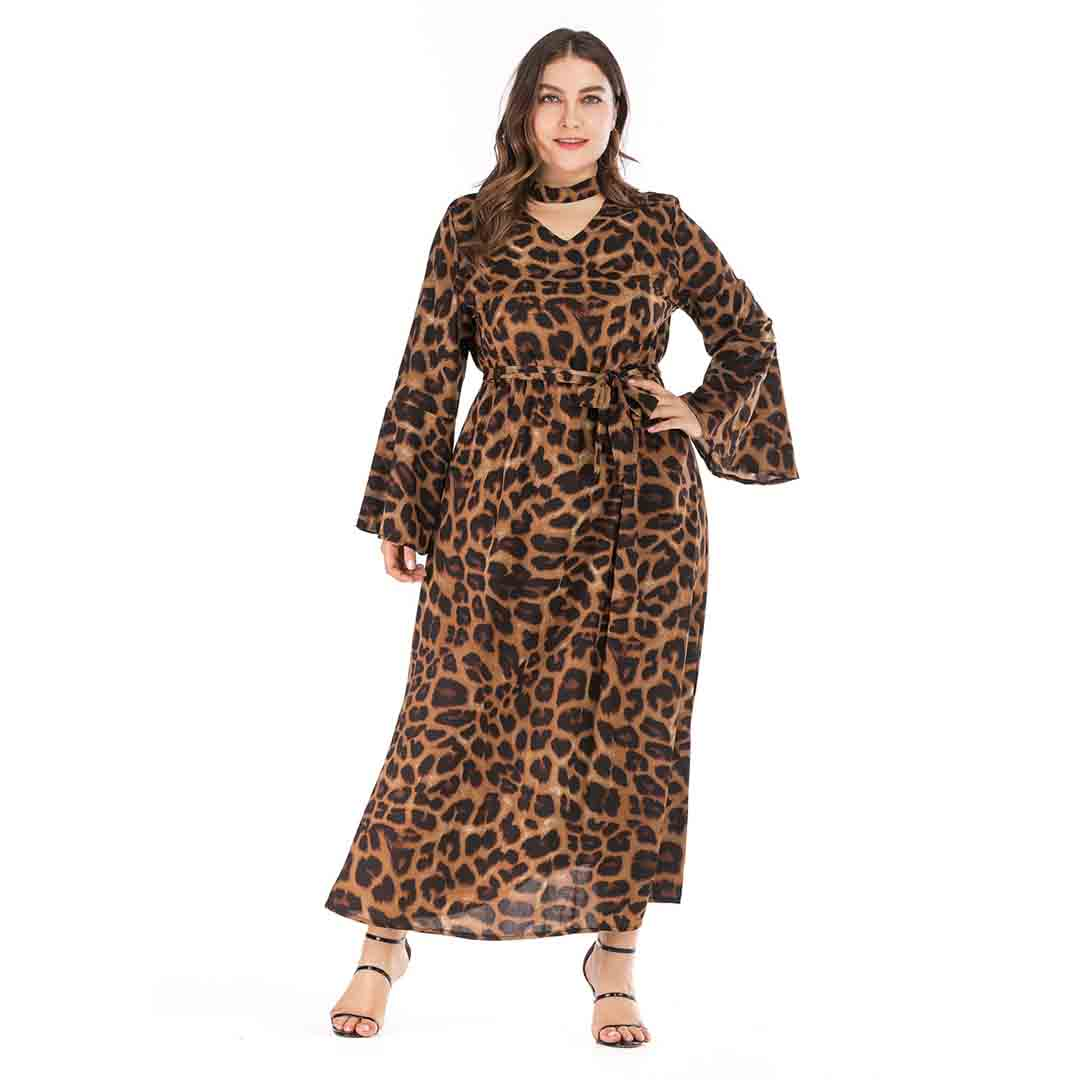Leopard Bell Sleeve Long Maxi Plus Size Animal Print Party Dresses