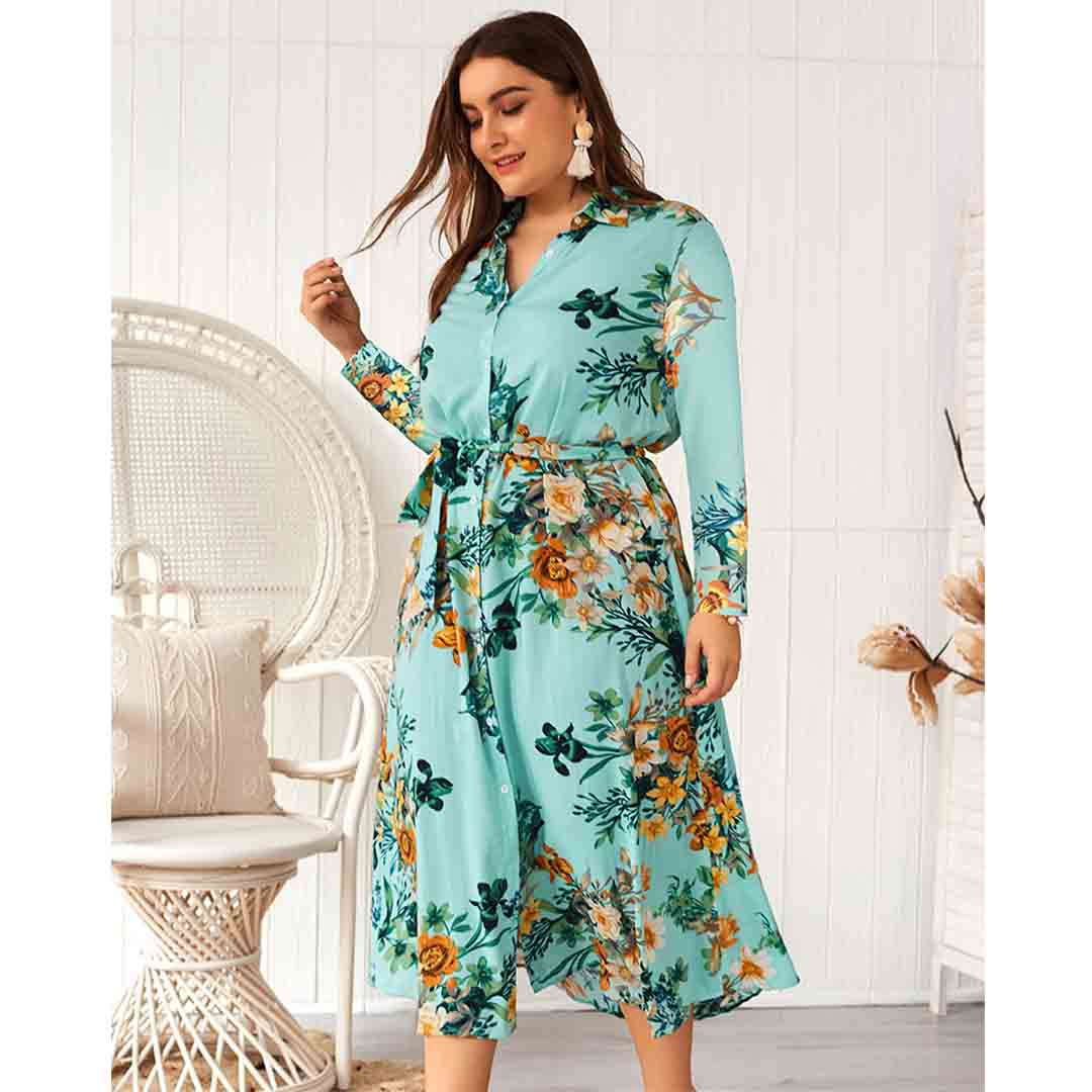 Long Sleeve Wedding Guest Floral Printed Plus Size Midi Shirt Dress