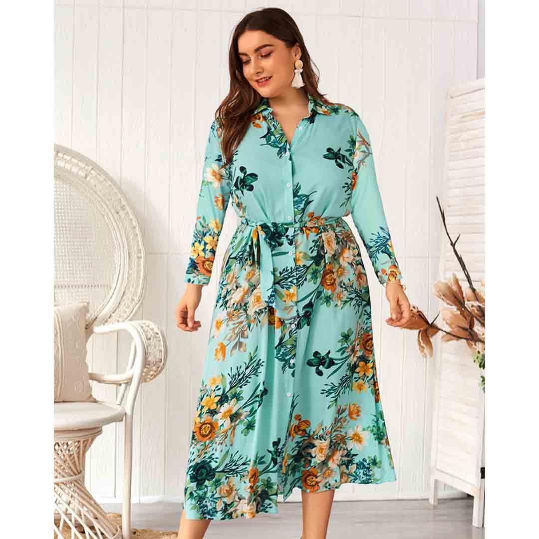 Long Sleeve Wedding Guest Floral Printed Plus Size Midi Shirt Dress