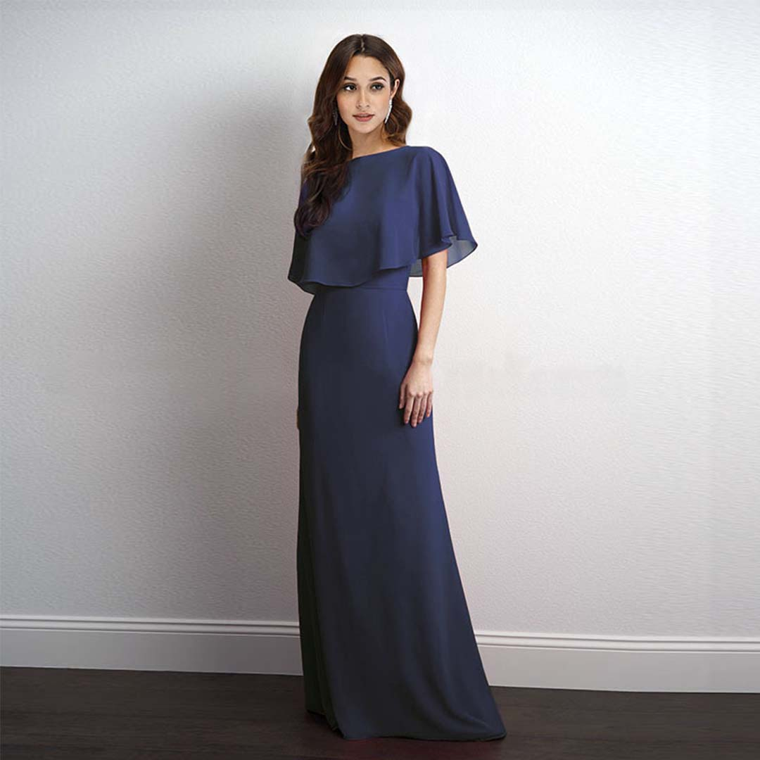 Long Gowns For Wedding Guests: Navy Blue Cape Sleeve Chiffon Bridesmaid Wedding Guest