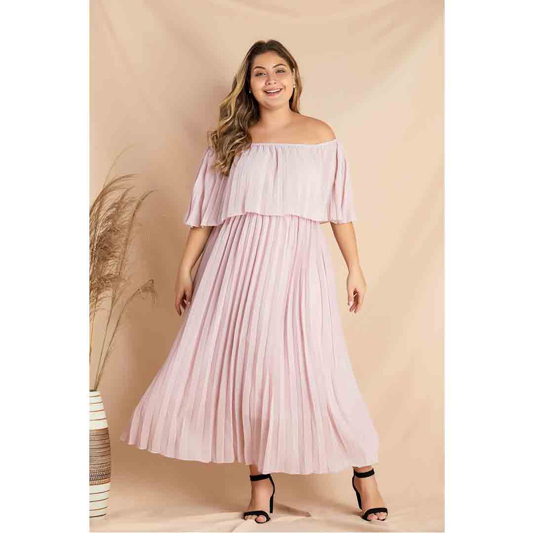 Pink Off Shoulder Casual Party Beach Summer Pleated