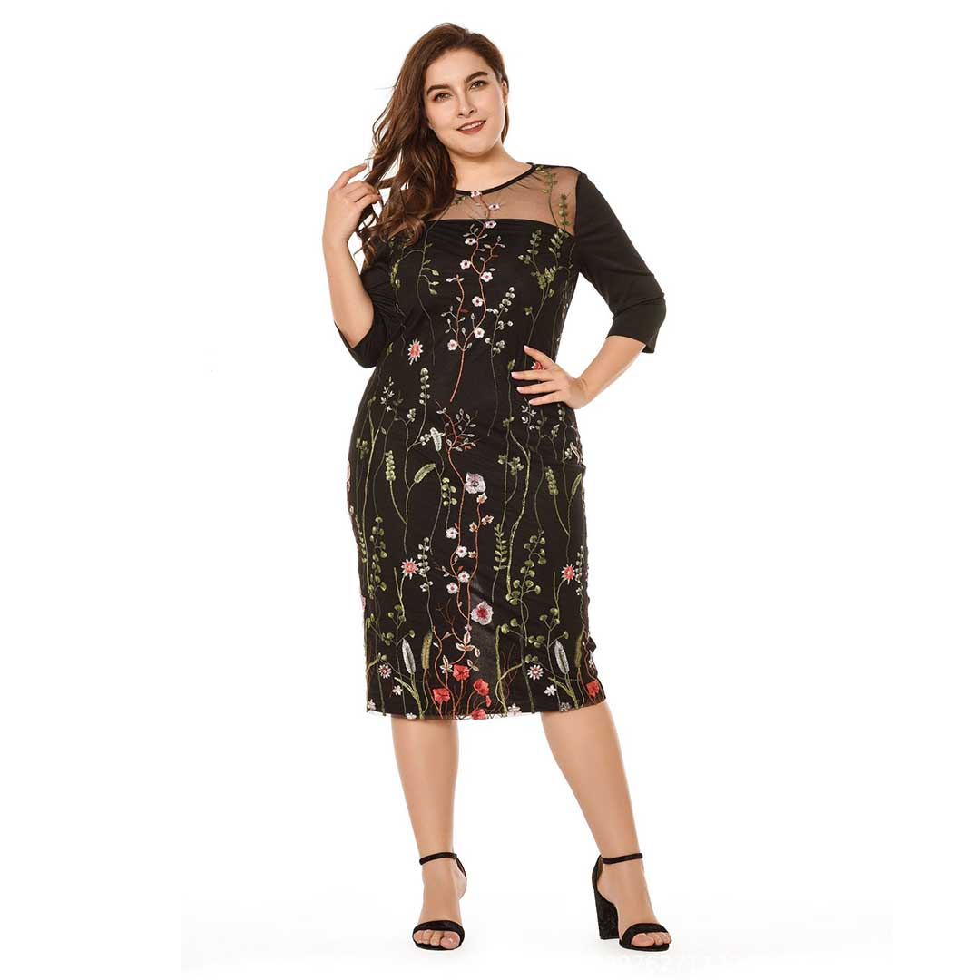 Plus Size Black Mesh Insert Cocktail Wedding Guest Lace Dress With Sleeves Apricus Fashion Premiere Women S Fashion At Affordable Prices,Lace Fitted Sweetheart Neckline Wedding Dresses