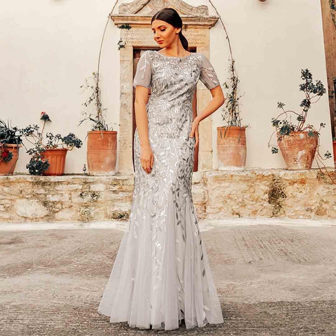 Plus Size Evening Wedding Bridesmaid Mermaid Prom Dresses with Sleeves