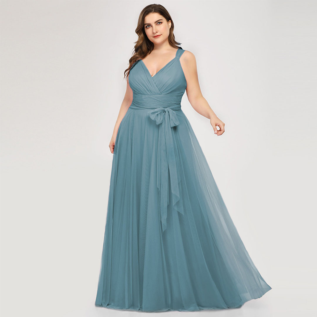 Plus Size High Waisted A Line Bridesmaid Elegant Tulle Ball Gown Dress