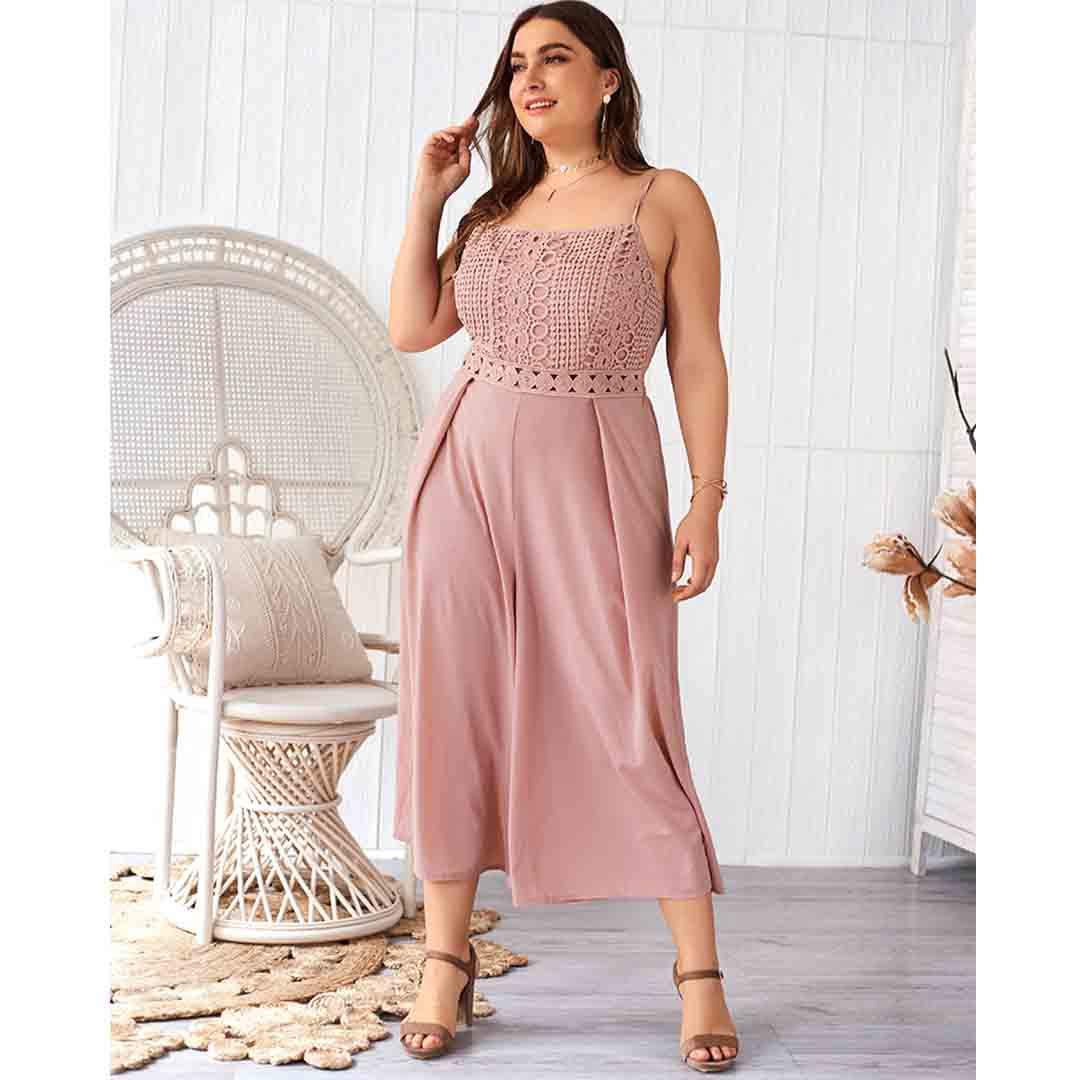 Plus Size Women Dusty Pink Lace Up Smocked Wide Leg Jumpsuit
