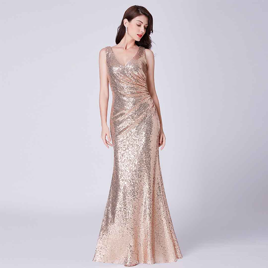Long Gowns For Wedding Guests: Sparkly Wedding Guest Formal Evening Ball Sequins