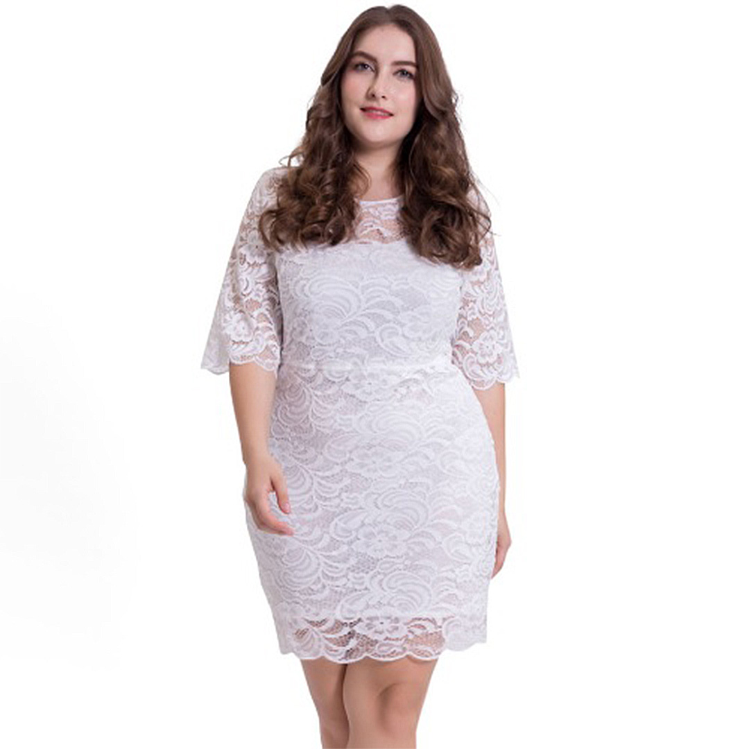 Women Plus Size Bodycon Floral Lace Cocktail Clubwear Mini Dresses