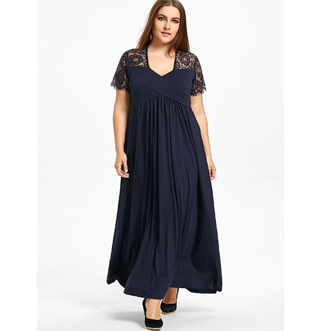 Plus Size Women Lace Up V Neck Casual Empire Waist Maxi Dress