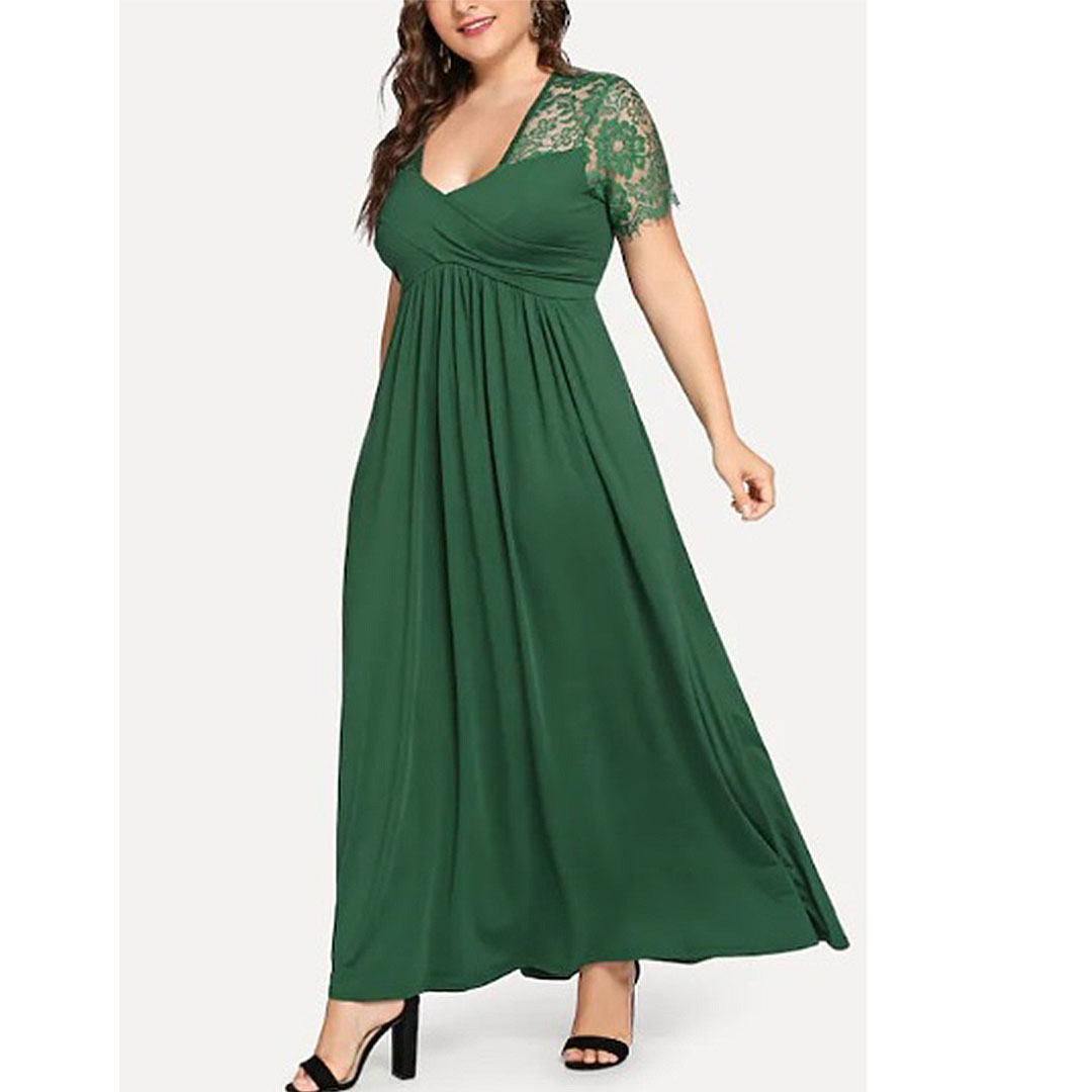 Plus Size Women Lace Up V Neck Casual Empire Waist Maxi