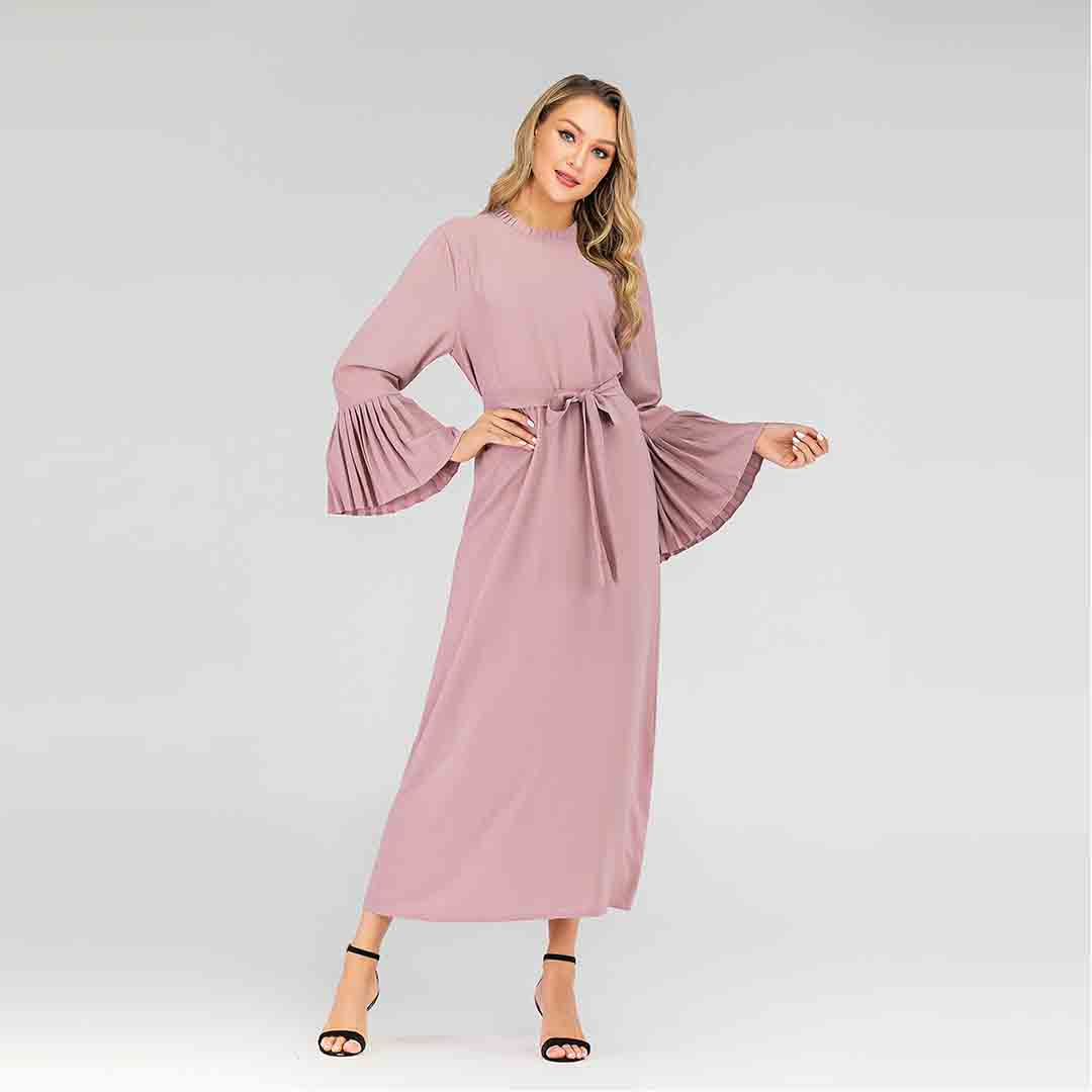 Belted Long Sheath Work Party Islamic Plus Size Pleated Sleeve Dress
