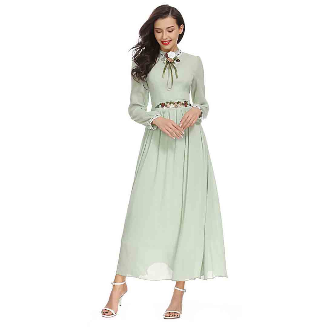 15 Floral Embroidered Bridal Dresses For A Summer Wedding: Mint Green Long Sleeve Floral Embroidered Vintage Country