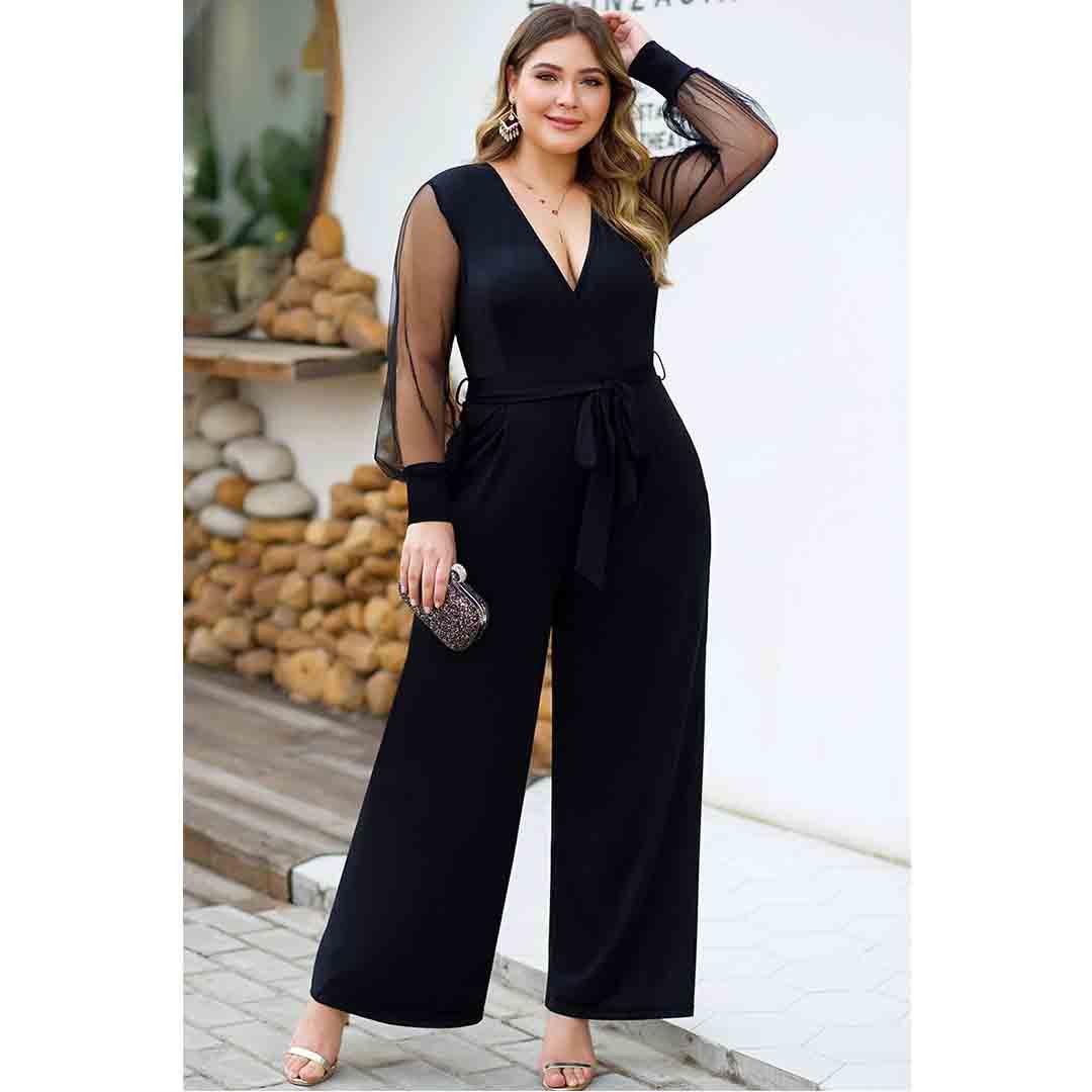 Plus Size Black Mesh Insert Deep V Neck Formal Jumpsuit Evening Wear