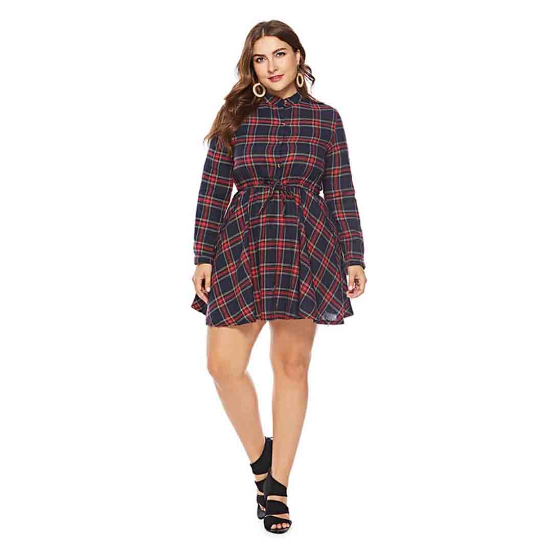 Plus Size Long Sleeve Plaid Mini Party Going Out Skater Dresses