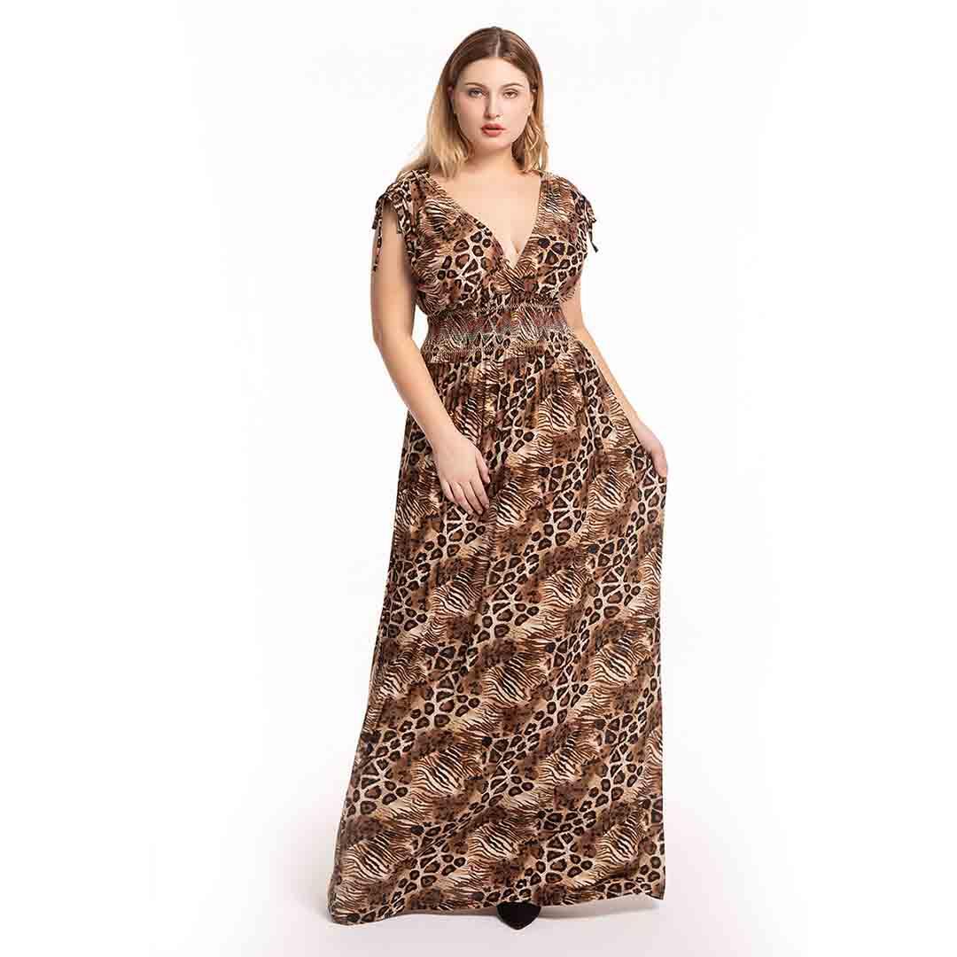 Plus Size Women Deep V Neck Stretchable Leopard Print Long Maxi Dress