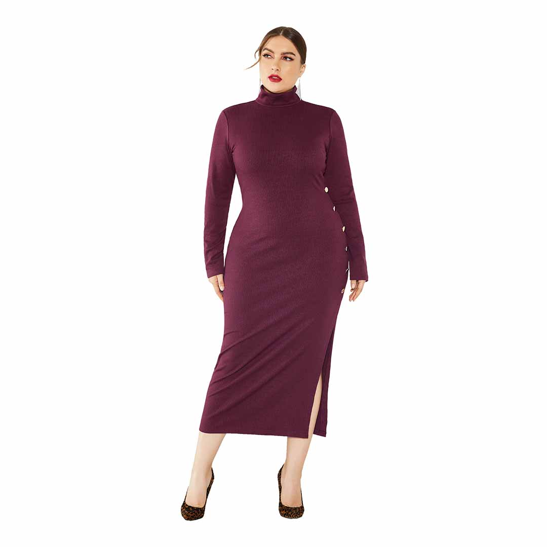 Plus Size Women Mock Neck Fall Winter Work Slimming Knit Midi Dress