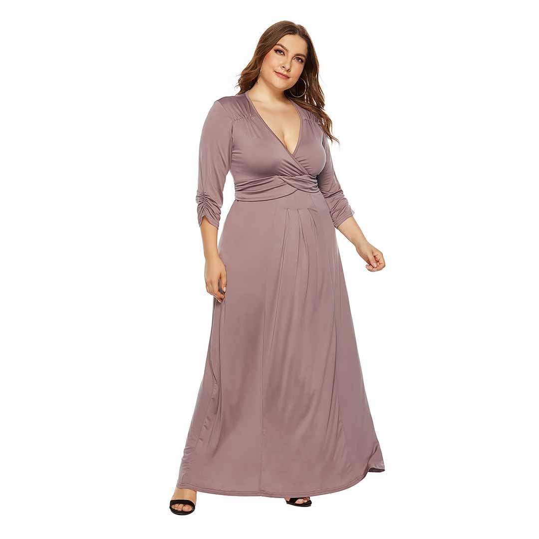 Solid A Line Deep V Neck Prom Evening Plus Size Elegant Dresses