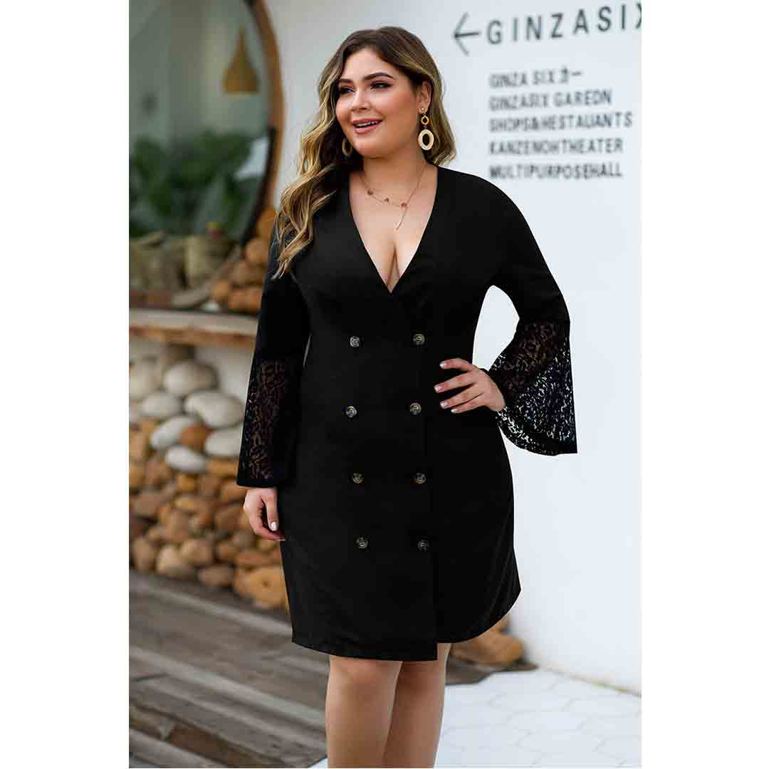 Black Lace Bell Sleeve Fall Winter Plus Size Double Breasted Dress