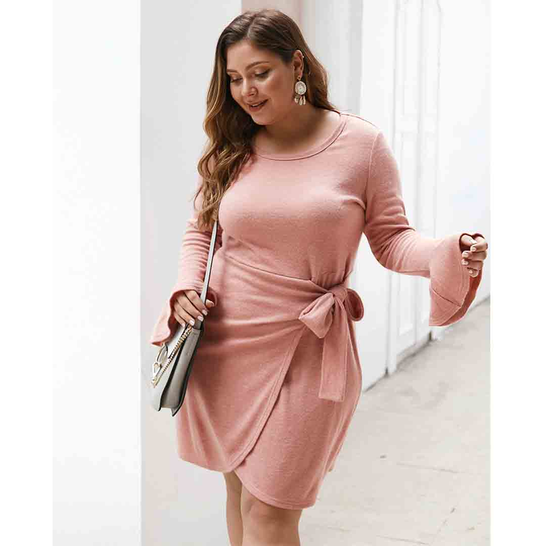 Plus Size Flounce Sleeve A Line Fall Winter Solid Mini Party Dress