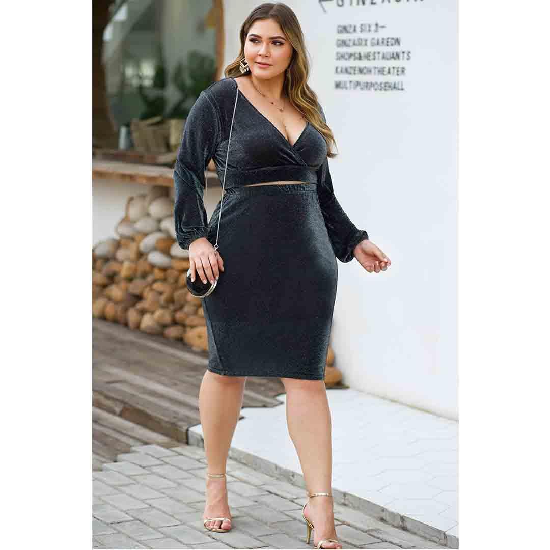 Plus Size Women Grey Two Piece Pencil Skirt Bodycon Suede Dress