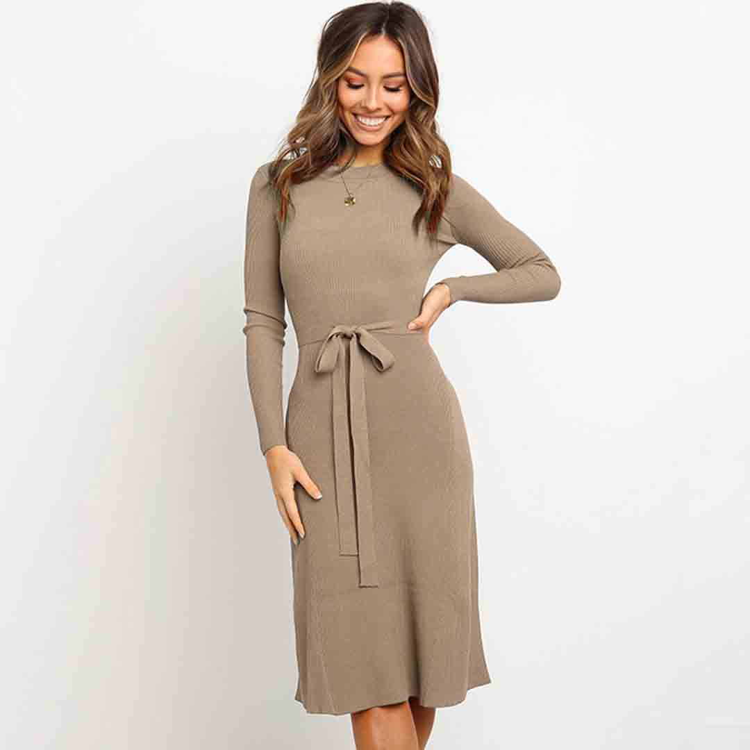 Long Sleeve Belted Work Slimming Solid Knit Dresses For
