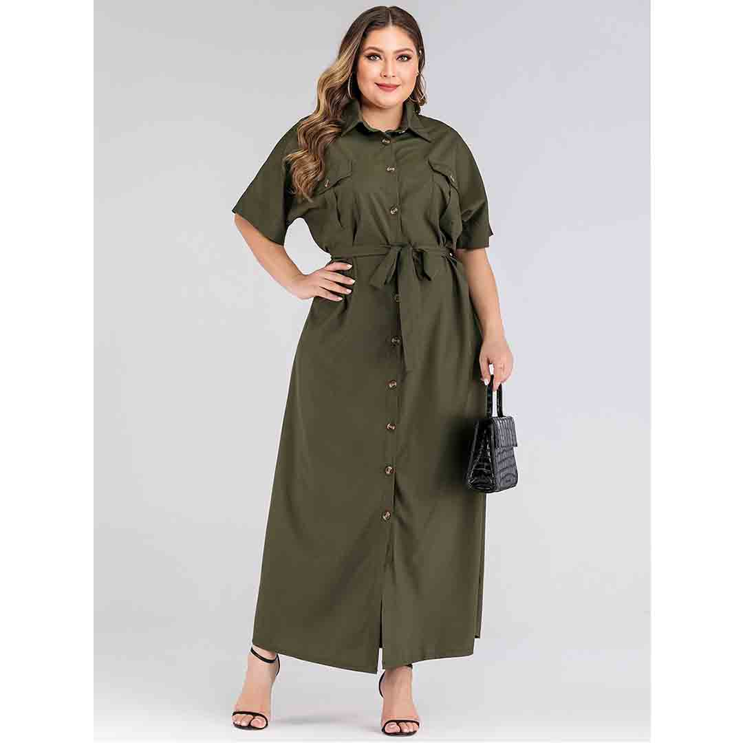 Olive Green Buttons Down Casual Fashion Outfits Plus Size Shirt Dress