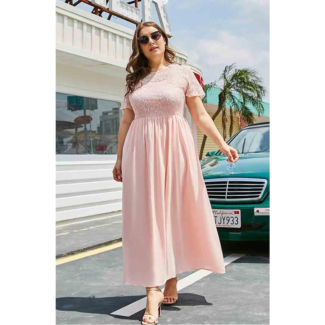 Pink Chiffon Lace Up High Waisted Plus Size Long Maxi Dress