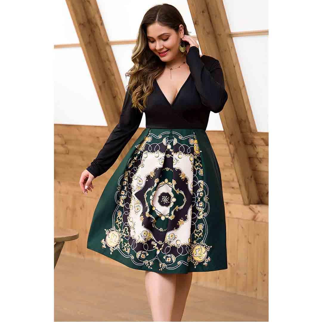 Plus Size Vintage Print Deep V Neck A Line Fake Two Piece Dresses