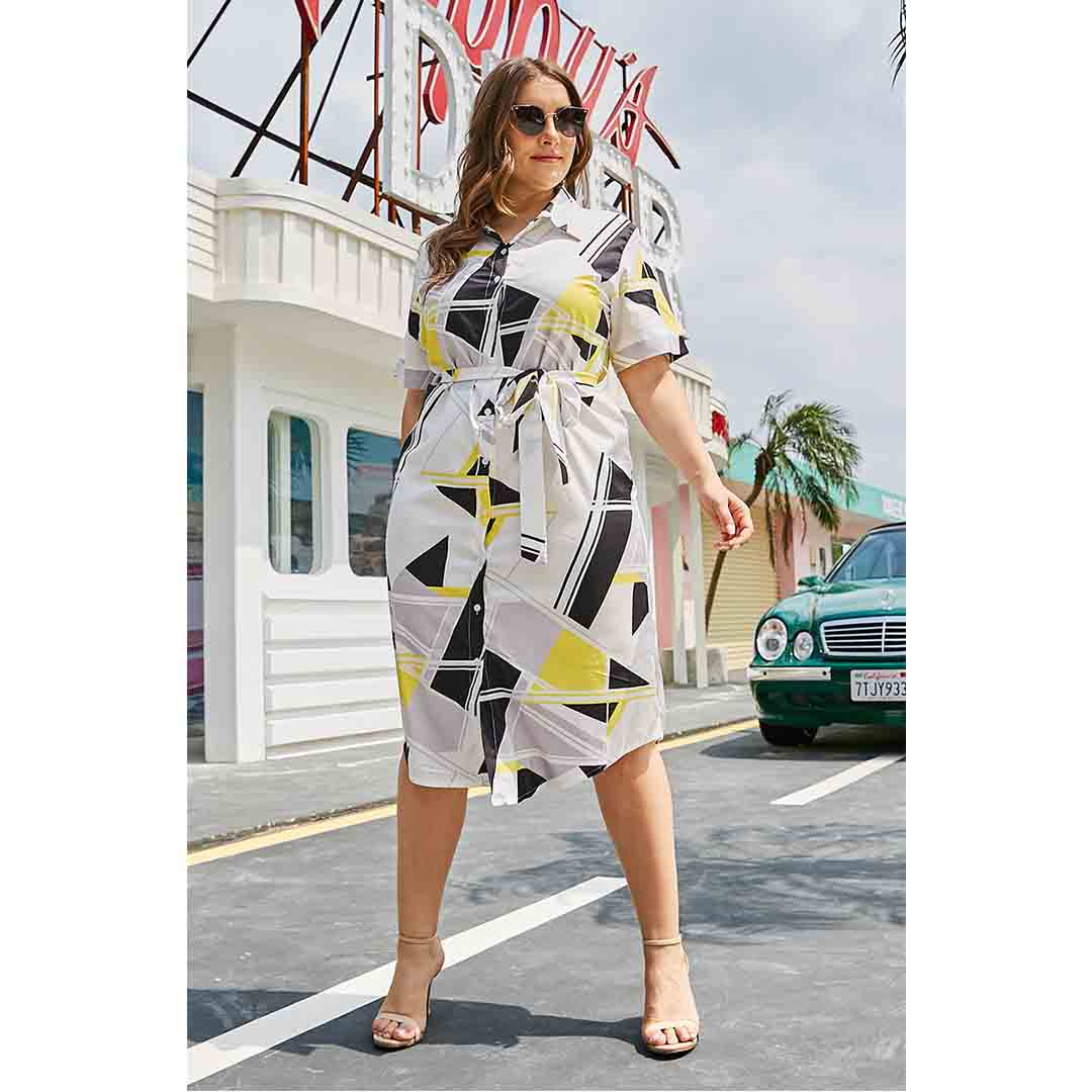 Plus Size Womens Buttons Down Belted Geometric Print Shirt Dress