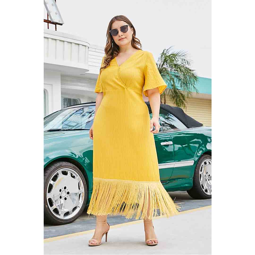 Yellow Casual Vacations Outfit Plus
